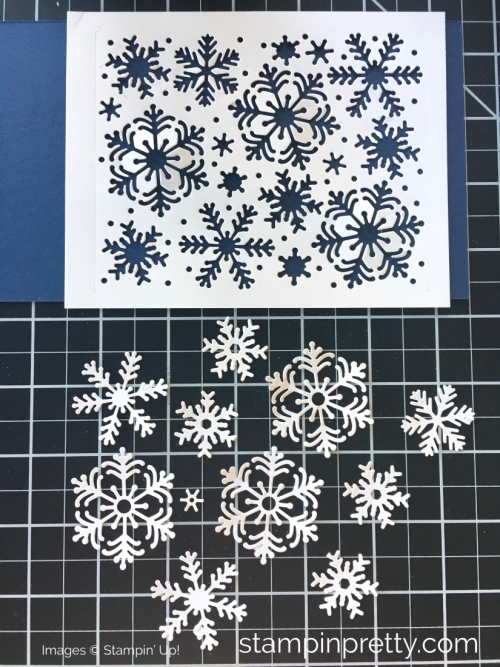 Create a snowflake Christmas card using Stampin Up Blizzard Thinlits Die - Mary Fish StampinUp
