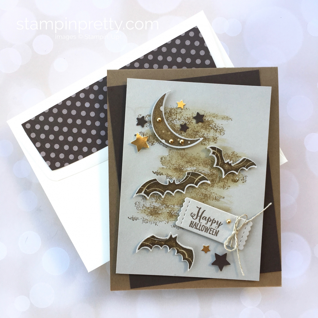 Create a Halloween card using Stampin Up Spooky Sweets & Spooky Bats Punch - Mary Fish StampinUp Idea