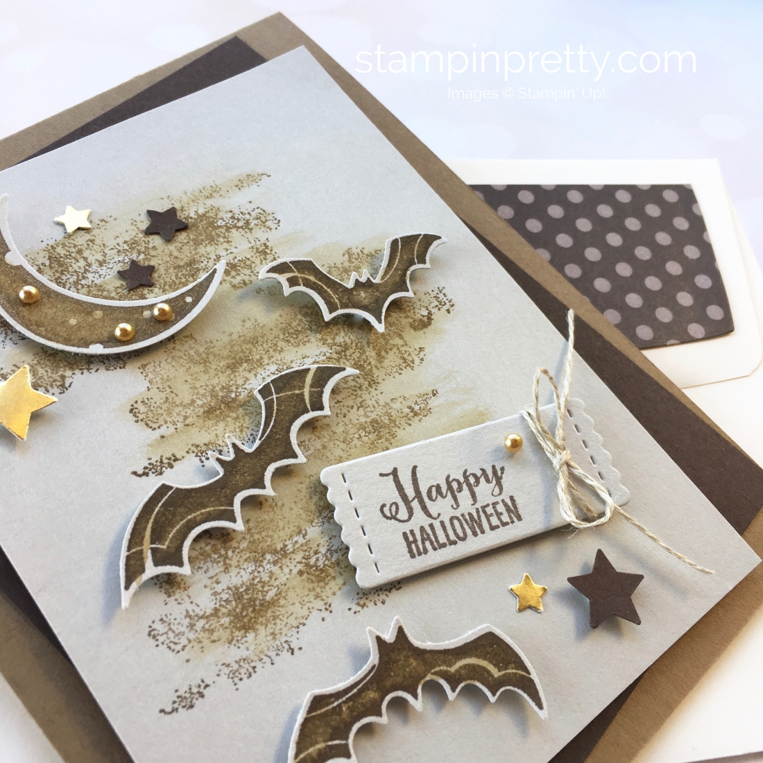 Create a Halloween card using Stampin Up Spooky Sweets & Spooky Bats Punch - Mary Fish StampinUp Ideas