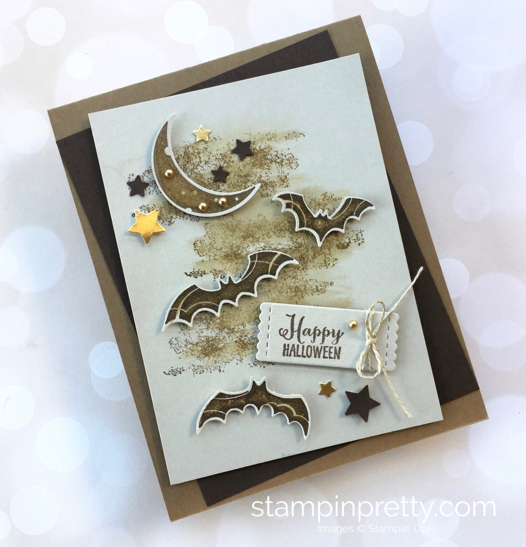 Create a Halloween card using Stampin Up Spooky Sweets & Spooky Bats Punch - Mary Fish StampinUp