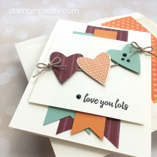 Create a love card with Stampin Up Takeout Treats heart die - Mary Fish StampinUp