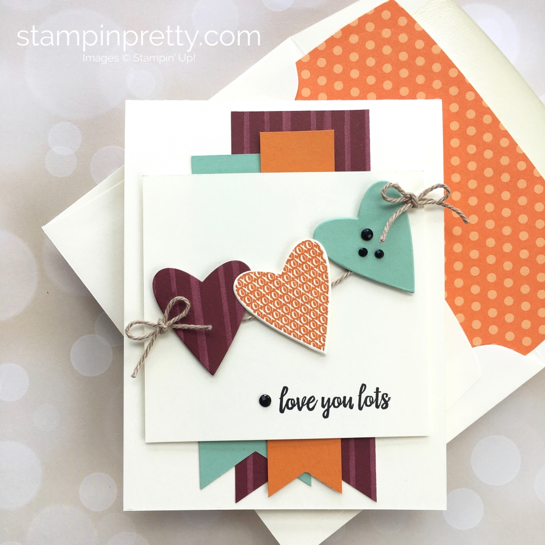 Create a love card with Stampin Up Takeout Treats heart die - Mary Fish StampinUp Idea