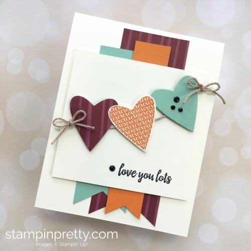 Create a love card with Stampin Up Takeout Treats heart die - Mary Fish StampinUp Ideas