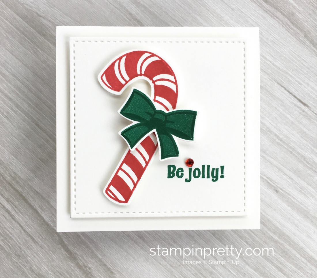 Create a simple 3 x 3 holiday gift card using Stampin Up! Candy Cane Season & Candy Cane Builder Punch - Mary Fish StampinUp Ideas