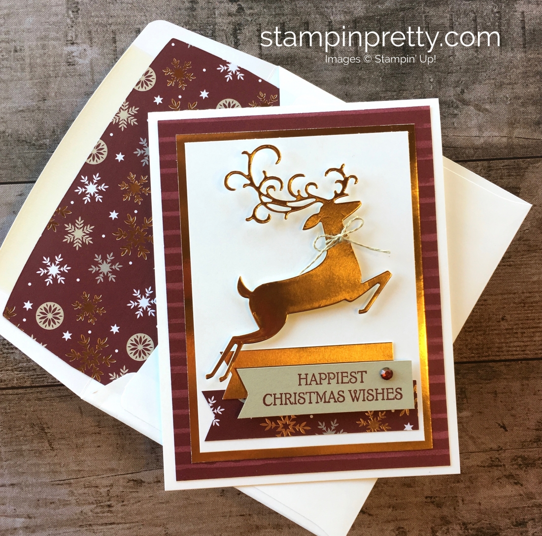 Create a simple Christmas card using Stampin Up Dashing Deer stamp set & Detailed Deer Thinlits Dies - Mary Fish StampinUp Idea
