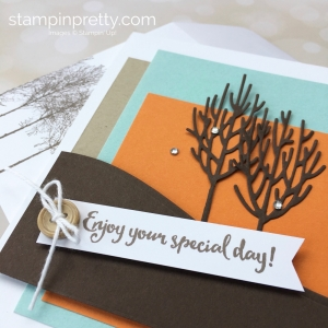 Create a simple birthday card with Winter Woods stamp set & In the Woods Framelits - Mary Fish StampinUp