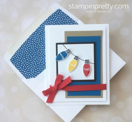 Create a simple holiday card with Stampin Up Making Christmas Bright & Christmas Bulb Builder Punch - Mary Fish StampinUp