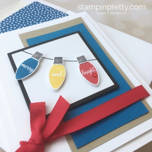 Create a simple holiday card with Stampin Up Making Christmas Bright & Christmas Bulb Builder Punch - Mary Fish StampinUp Idea