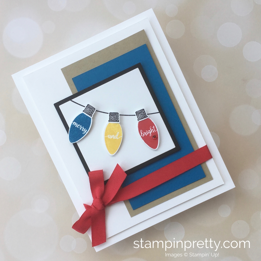 Create a simple holiday card with Stampin Up Making Christmas Bright & Christmas Bulb Builder Punch - Mary Fish StampinUp Ideas