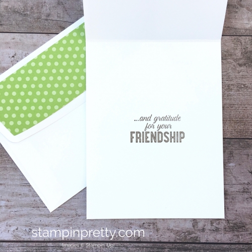 Create a simple thank you card with Stampin Up Flourish Filigree - Mary Fish StampinUp envelope