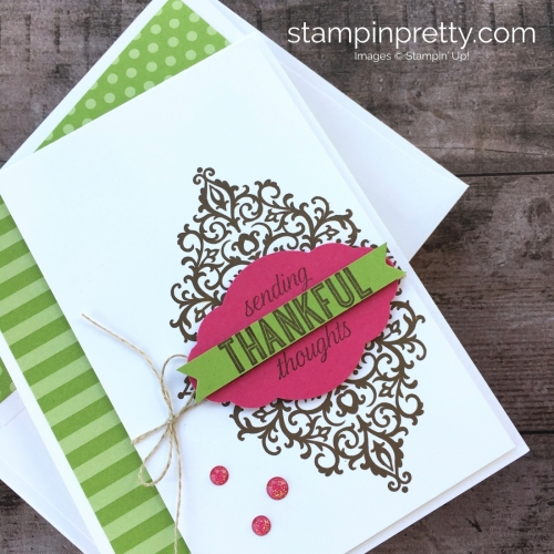 Create a simple thank you card with Stampin Up Flourish Filigree Stamp Set - Mary Fish StampinUp