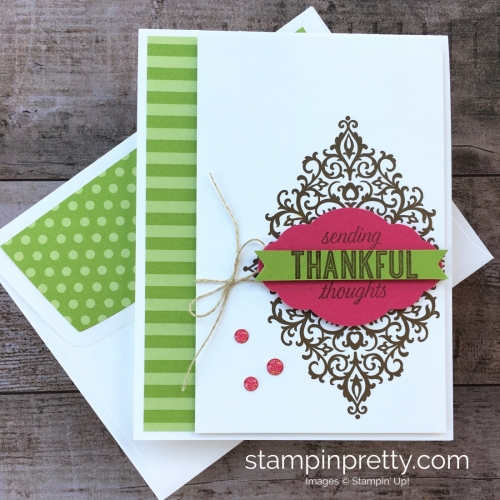 Create a simple thank you card with Stampin Up Flourish Filigree Stamp Set - Mary Fish StampinUp Ideas