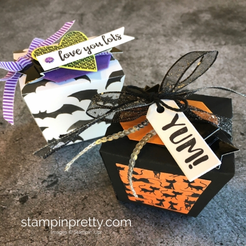 Create a simple treat box using Stampin Up Takeout Treats & Takeout Thinlits Dies - Mary Fish StampinUp