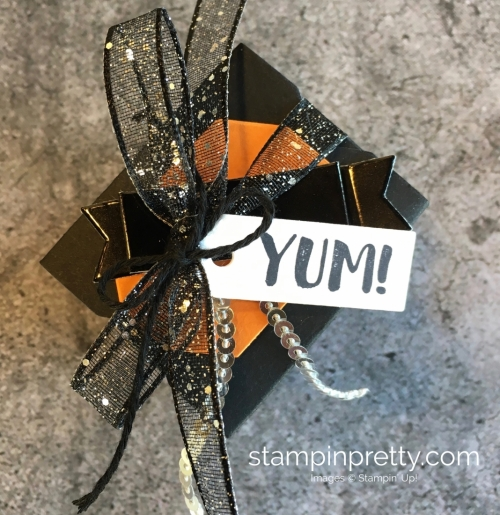 Create a simple treat box using Stampin Up Takeout Treats & Takeout Thinlits Dies - Mary Fish StampinUp Idea