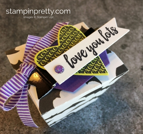 Create a simple treat box using Stampin Up Takeout Treats & Takeout Thinlits Dies - Mary Fish StampinUp Valentine