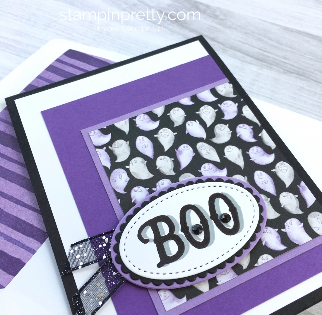 Simple Halloween card idea using Stampin Up Warm Hearted and Toil & Trouble Designer Series Paper - Mary Fish StampinUp BOO