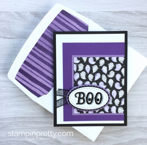 Simple Halloween card idea using Stampin Up Warm Hearted and Toil & Trouble Designer Series Paper - Mary Fish StampinUp envelope