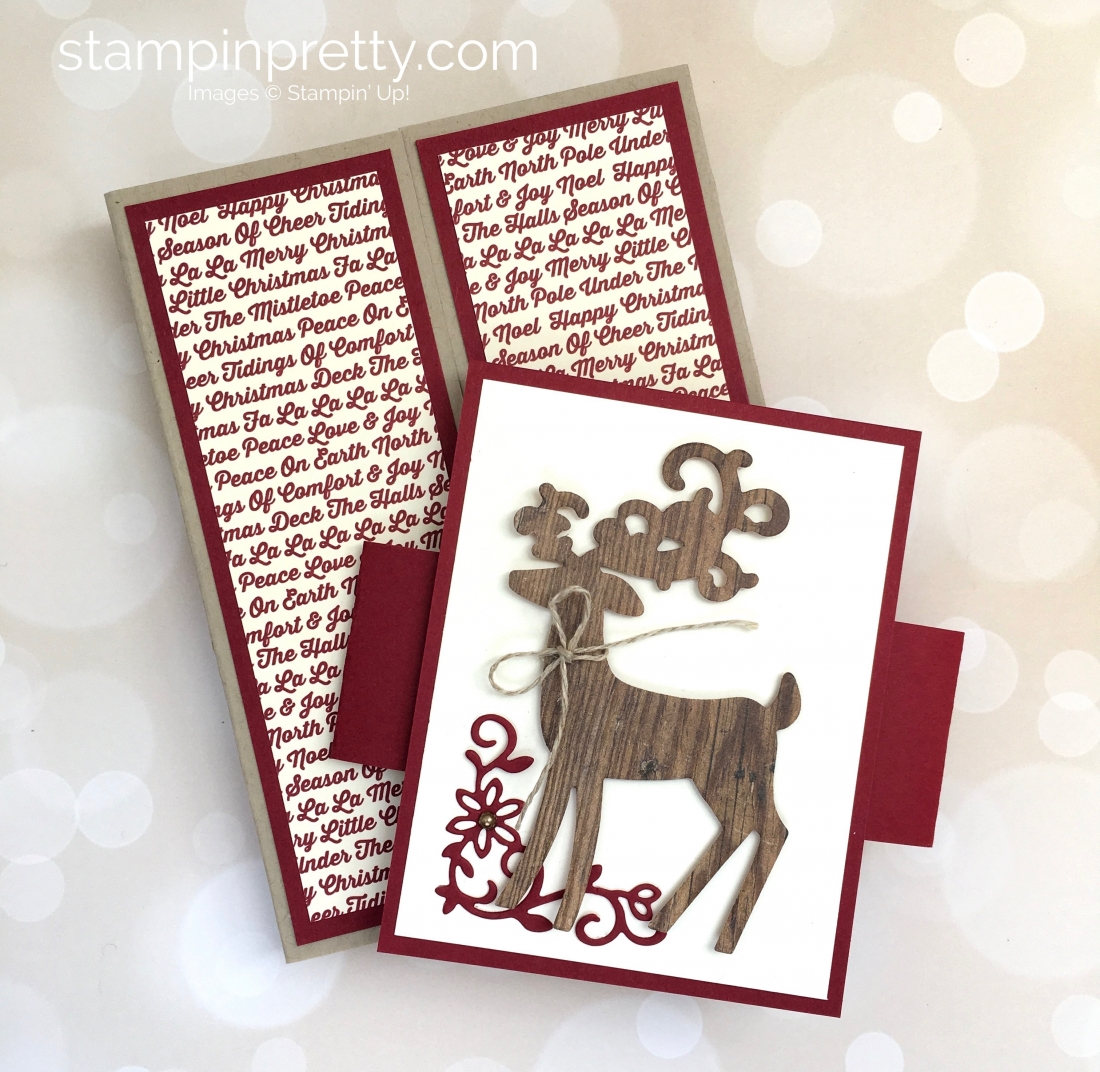 Create a fold holiday card and belly band using Stampin Up Detailed Deer - Mary Fish StampinUp Christmas