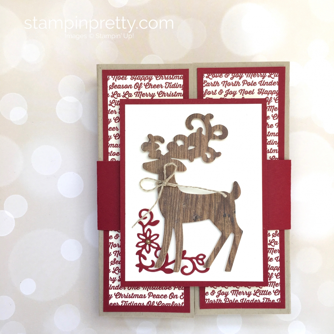 Create a fold holiday card and belly band using Stampin Up Detailed Deer - Mary Fish StampinUp Festive Farmhouse