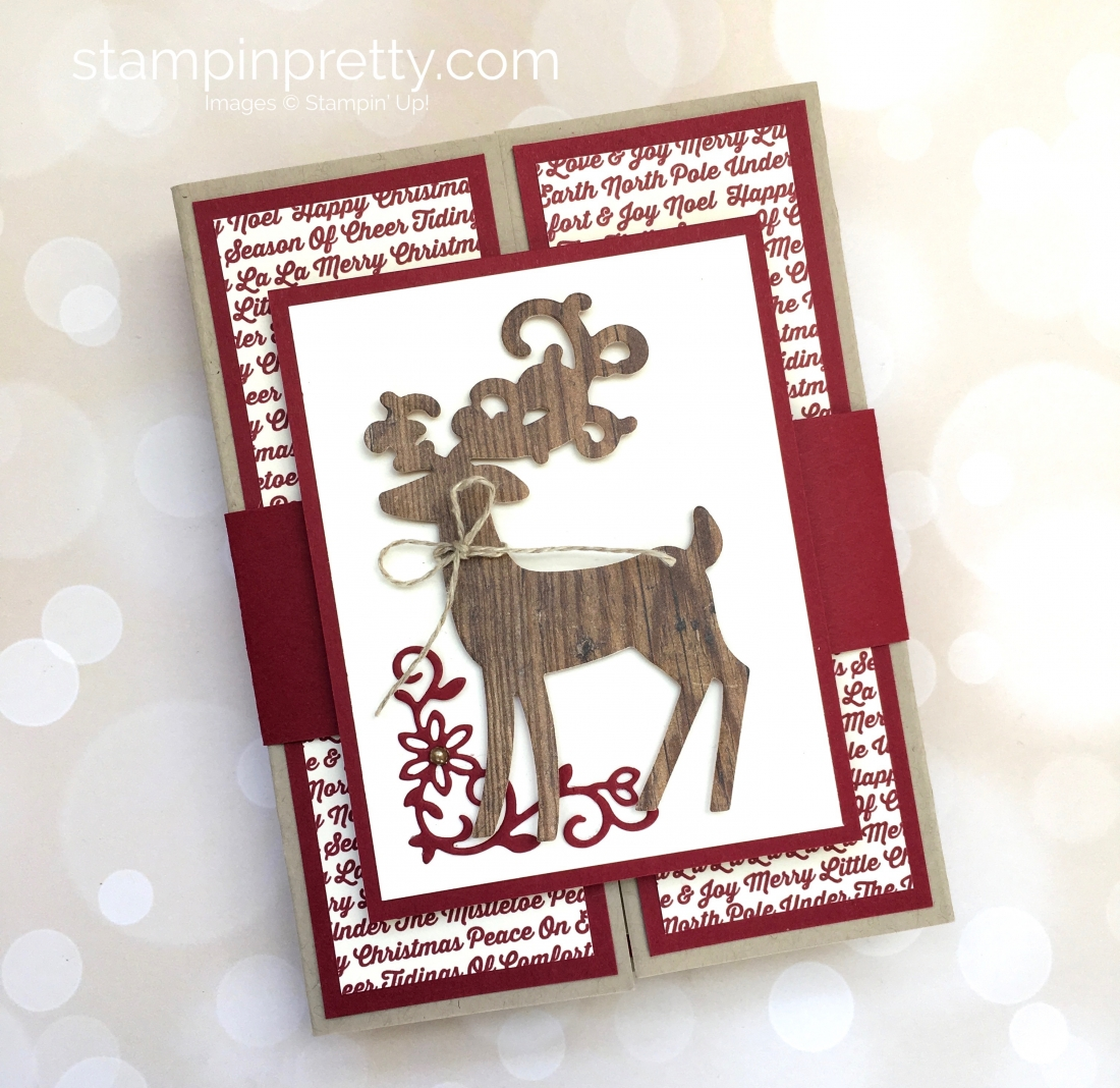 Create a fold holiday card and belly band using Stampin Up Detailed Deer - Mary Fish StampinUp woodcut