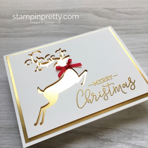 Create a simple Christmas card using Stampin Up Warm Hearted & Detailed Deer Framelits Dies - Mary Fish StampinUp
