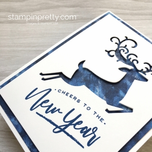 Create a simple Christmas card using Stampin Up Warm Hearted & Detailed Deer Framelits Dies - Mary Fish StampinUp Garden Impressions