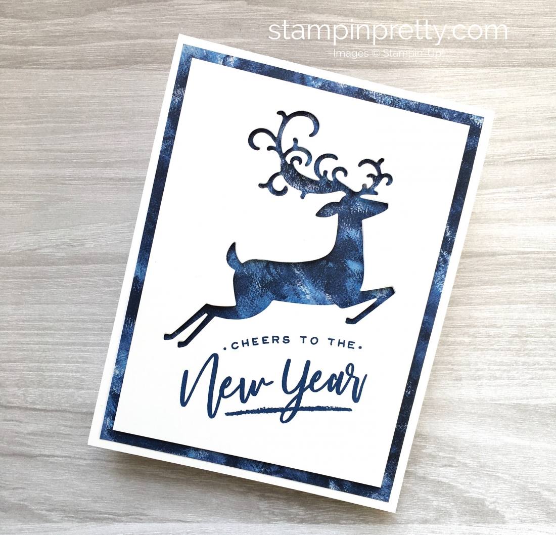 Create a simple Christmas card using Stampin Up Warm Hearted & Detailed Deer Framelits Dies - Mary Fish StampinUp Idea