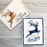 Create a simple Christmas card using Stampin Up Warm Hearted & Detailed Deer Framelits Dies - Mary Fish StampinUp duo