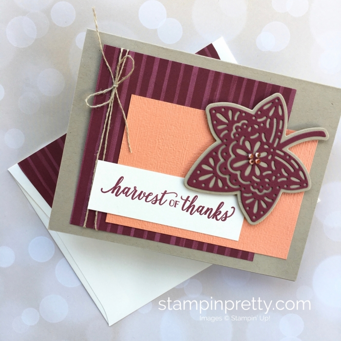 Create a simple autumn card with Stampin Up Falling For Leaves stamp set & Detailed Leaves Thinlits Dies - Mary Fish StampinUp