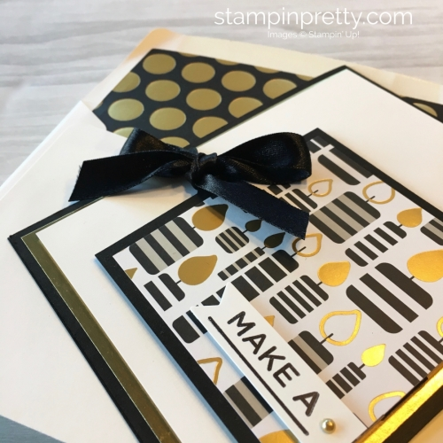 Create a simple birthday card with Stampin Up Broadway Bound Specialty Designer Series Paper - Mary Fish StampinUp Idea