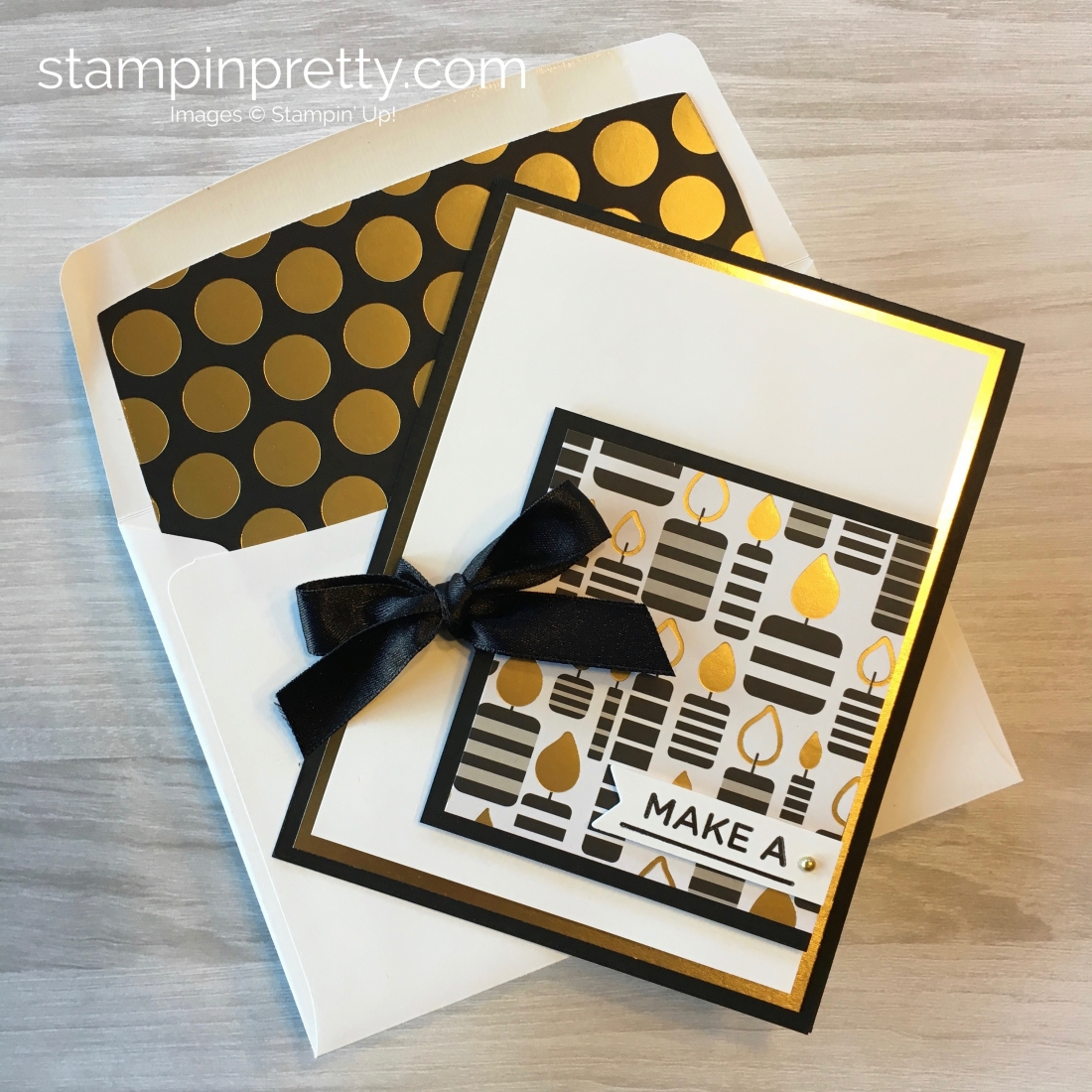 Create a simple birthday card with Stampin Up Broadway Bound Specialty Designer Series Paper - Mary Fish StampinUp Ideas