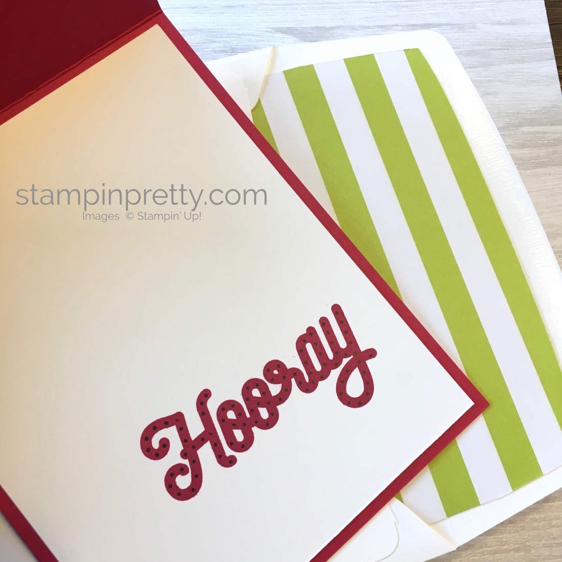 Create a simple birthday card with Stampin Up Broadway Bound Specialty Designer Series Paper - Mary Fish StampinUp interior hooray