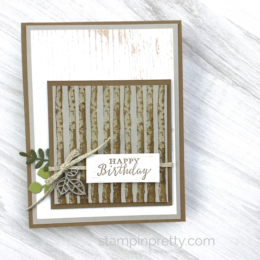 Create a simple masculine birthday card using Stampin Up Winter Woods Stamp Set - Mary Fish StampinUp Ideas