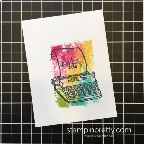 Create a simple typewriter birthday card using Stampin Up PS Youre the Best - Mary Fish StampinUp brights