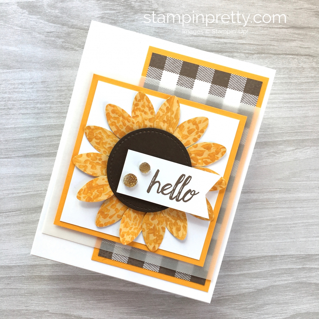 Create a sunflower fall card using the Stampin Up Christmas Bulb Builder Punch - Mary Fish StampinUp Card