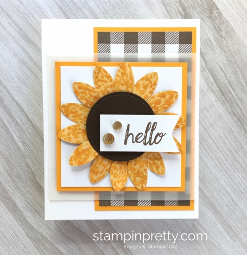 Create a sunflower fall card using the Stampin Up Christmas Bulb Builder Punch - Mary Fish StampinUp Ideas