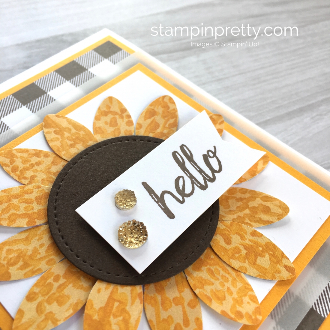 Create a sunflower fall card using the Stampin Up Christmas Bulb Builder Punch - Mary Fish StampinUp hello