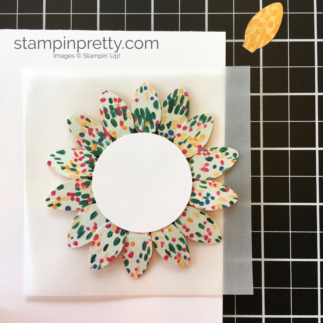 Create a sunflower fall card using the Stampin Up Christmas Bulb Builder Punch - Mary Fish StampinUp