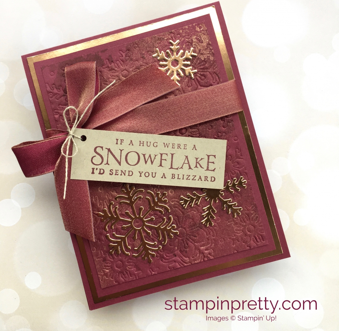 Create a winter holiday Christmas card using Beautiful Blizzard & snowflake Blizzard dies - Mary Fish StampinUp Idea