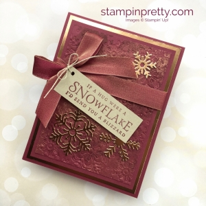 Create a winter holiday Christmas card using Beautiful Blizzard & snowflake Blizzard dies - Mary Fish StampinUp Ideas