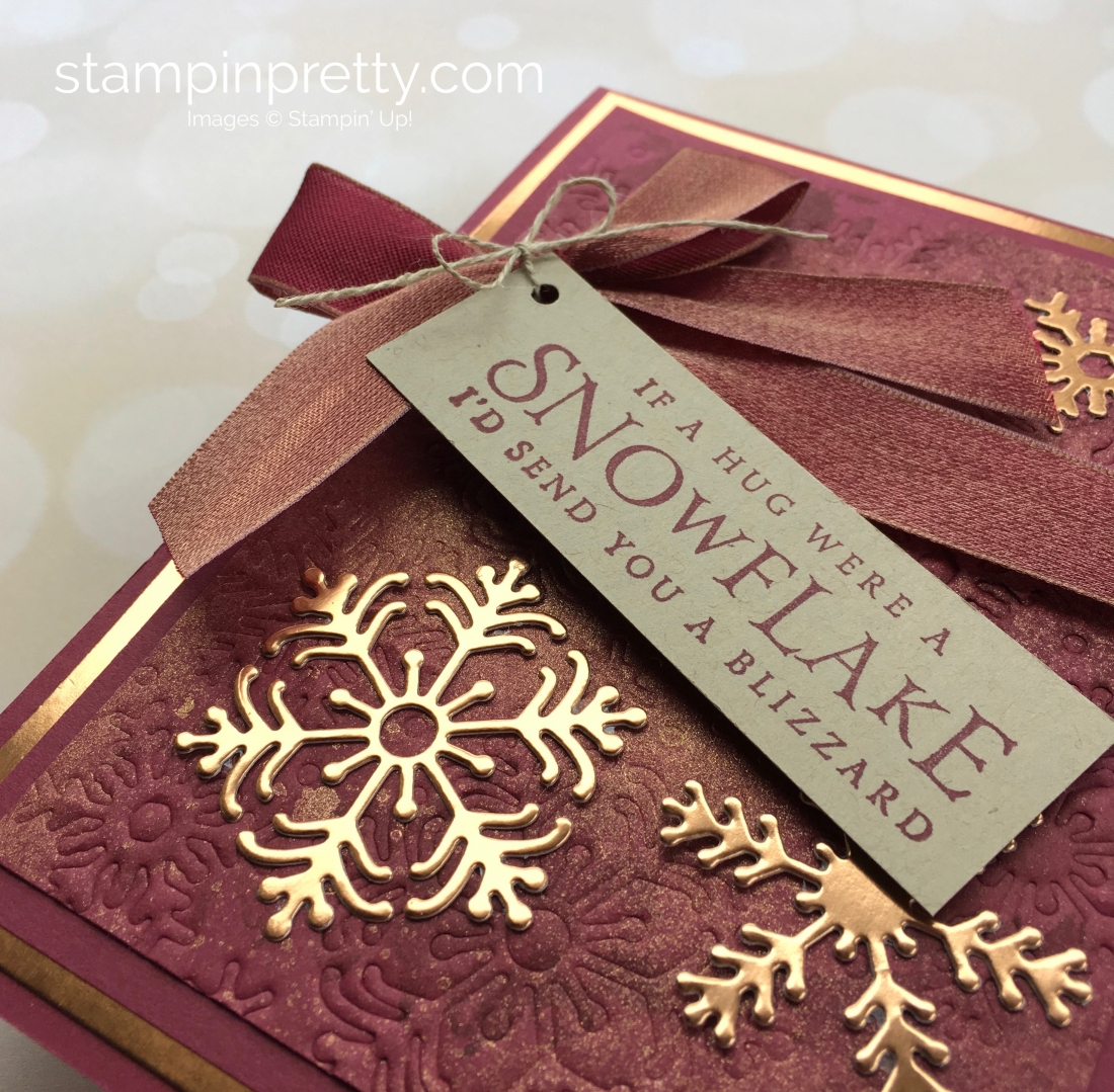 Create a winter holiday Christmas card using Beautiful Blizzard & snowflake Blizzard dies - Mary Fish StampinUp Merry Merlot Idea