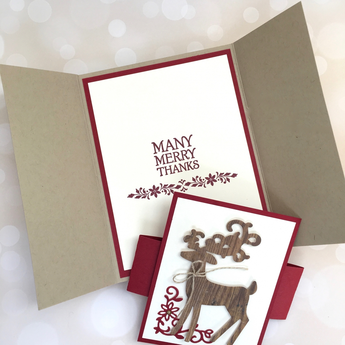 Create a fold holiday card and belly band using Stampin Up Detailed Deer - Mary Fish StampinUp Christmas reindeer