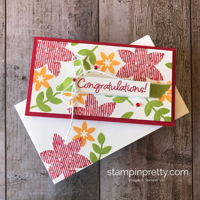 Happiness Surrounds Limited Release Stamp Set by Stampin' Up! Simple Congratulations Narrow Note Card by Mary Fish, Stampin' Pretty