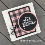 Create a Buffalo Plaid Square Note Card with the Buffalo Check Background Stamp from Stampin