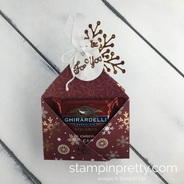 Create a Ghiradelli Treat Holder Using Designer Series Paper from Stampin'UP MARY FISH