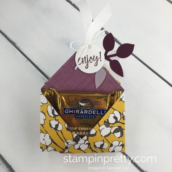 Create a Ghirardelli Treat Holder Using Designer Series Paper From Stampin' Up! Mary Fish