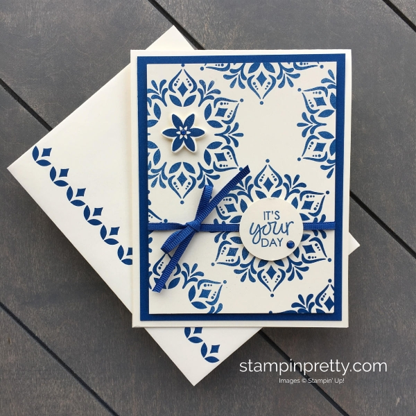 Create a simple Happiness Surrounds Blueberry Bushel Birthday Card Stampin' Up! Mary Fish, Stampin' Pretty
