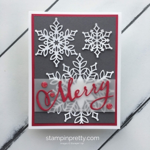 How to create this Merry Christmas Card using the Snowfall Thinlits from Stampin' Up! Mary Fish, Stampin Pretty