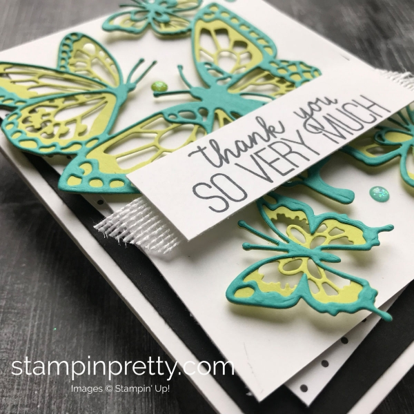 Learn How to Create This Thank You Card using Stampin'Up! Butterfly Beauty Thinlits Card by Mary Fish, #stampinpretty