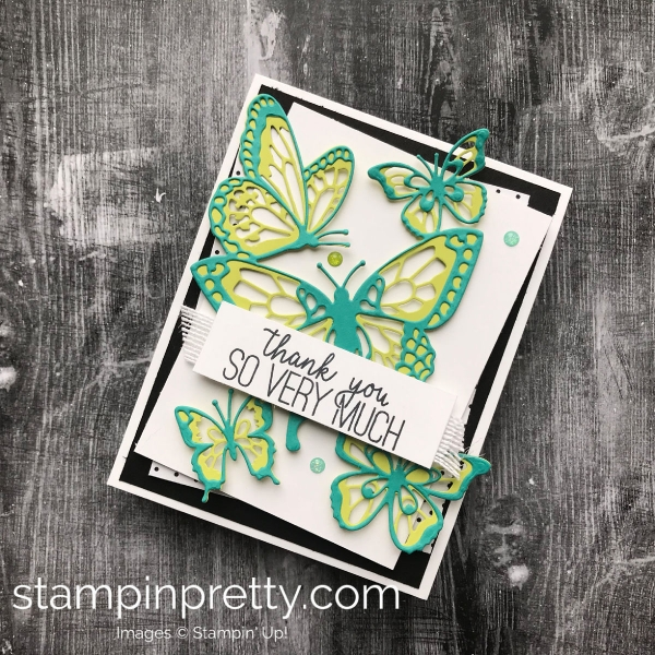 Learn how to create this card using the Butterfly Beauty Thinlits by Stampin'Up! Mary Fish, Stampin' Pretty